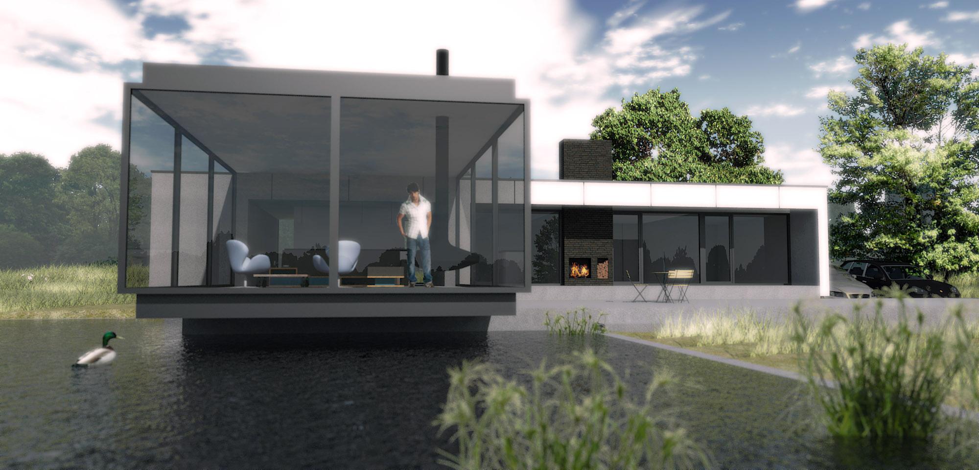 Villa Vechtdal, de woonkamer zweeft boven de zwemvijver