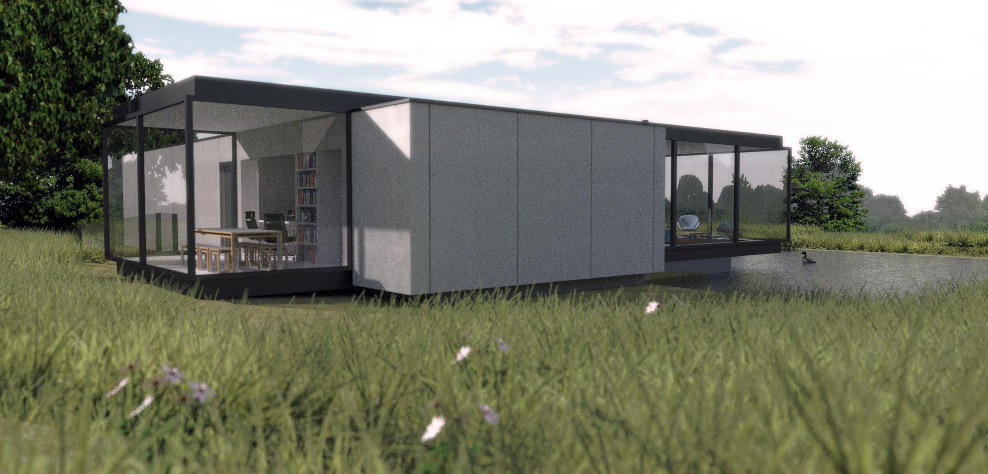 Villa Vechtdal: woonkamer en kantoor bevinden zich in het glazen volume, de slaapkamers en de berging in het betonnen volume